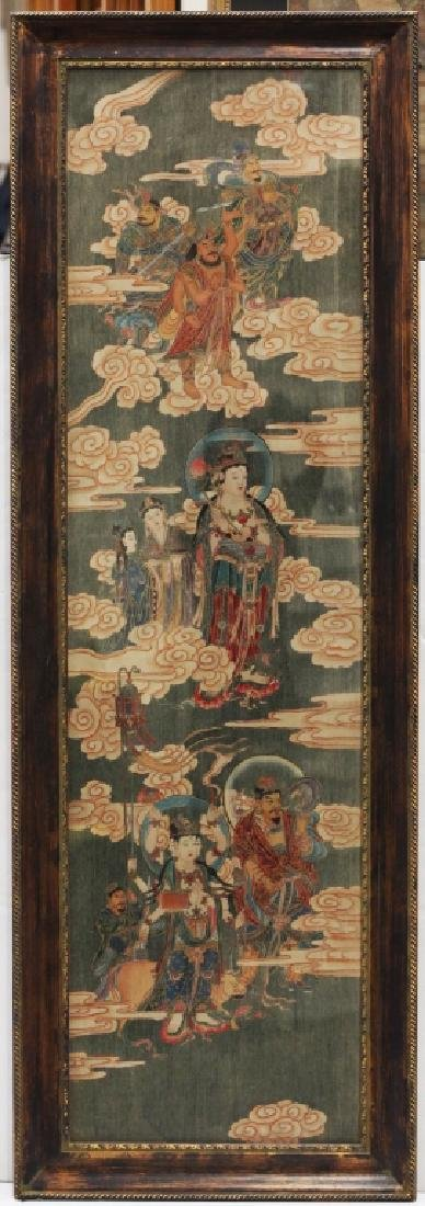 Large Chinese Tang-Style Buddhist Silk Painting