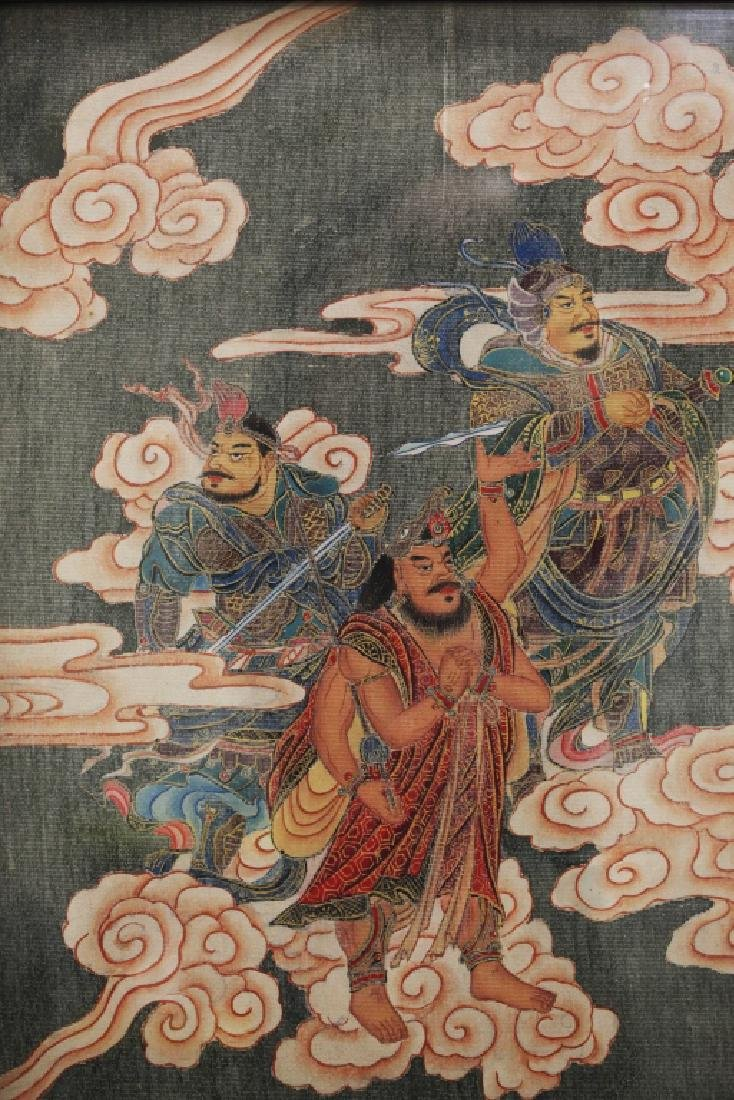 Large Chinese Tang-Style Buddhist Silk Painting - 2