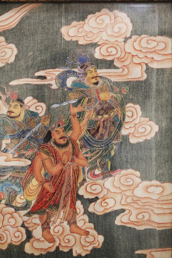 Large Chinese Tang-Style Buddhist Silk Painting - 3