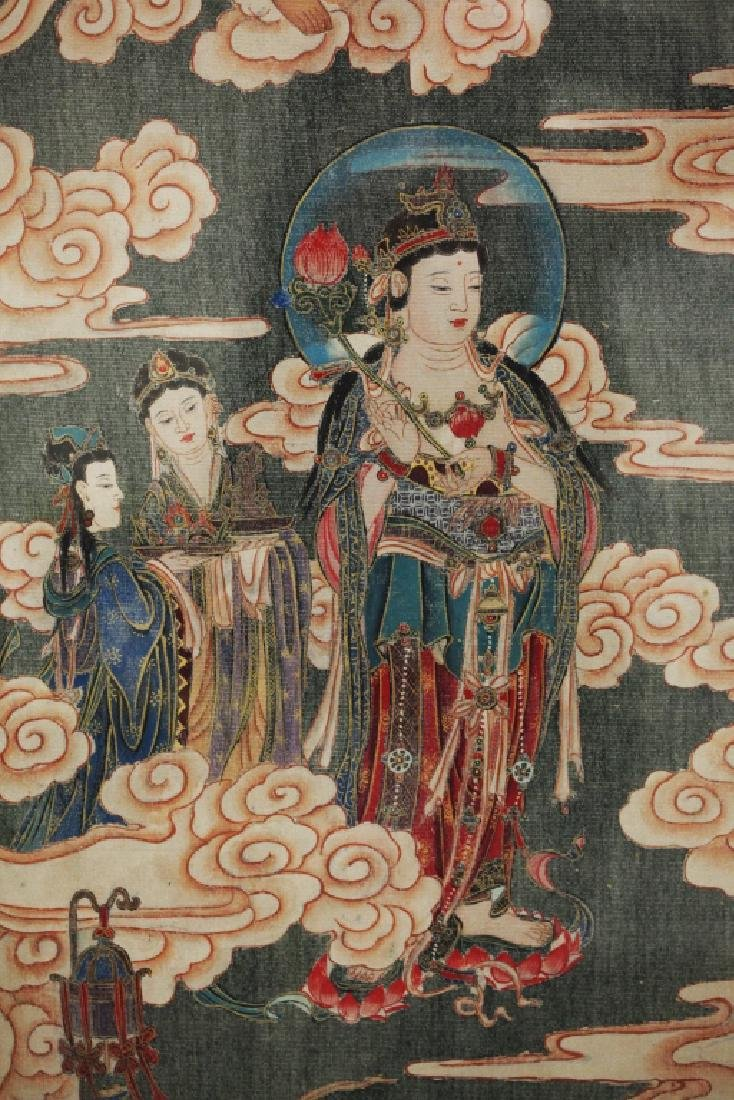Large Chinese Tang-Style Buddhist Silk Painting - 4