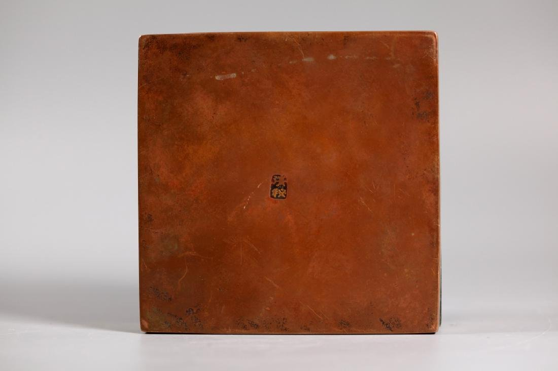 Lg Chinese Scholar Engraved Bronze Copper Ink Box - 2