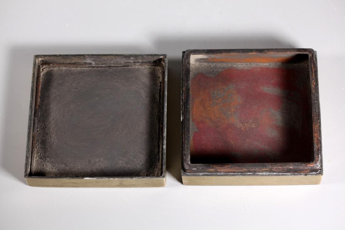 Lg Chinese Scholar Engraved Bronze Copper Ink Box - 4