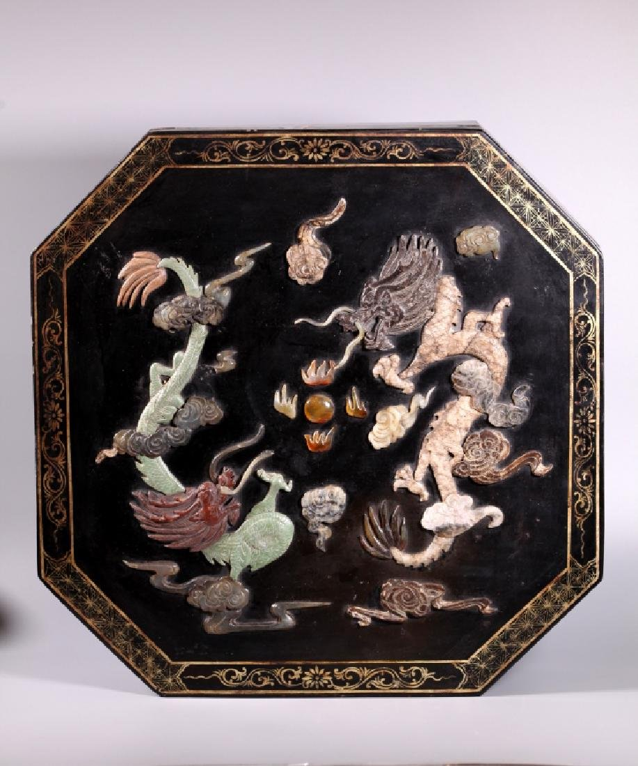 Lg Chinese Lacquer Box Dragon Inlaid with Carvings