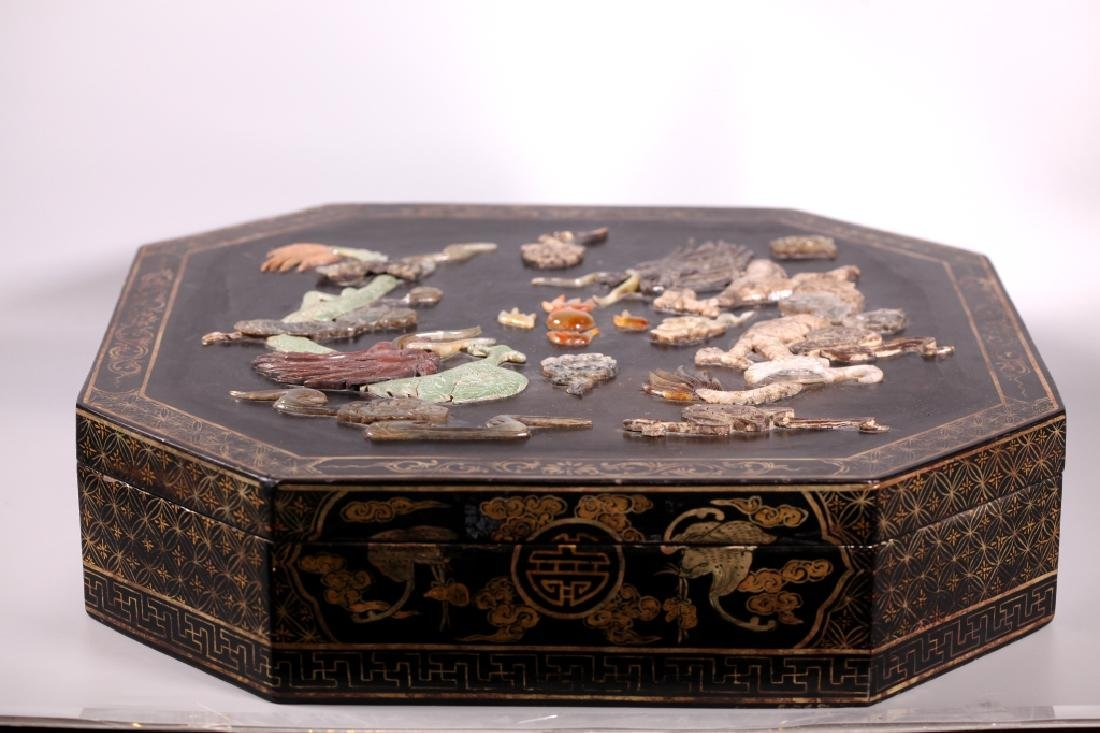 Lg Chinese Lacquer Box Dragon Inlaid with Carvings - 6