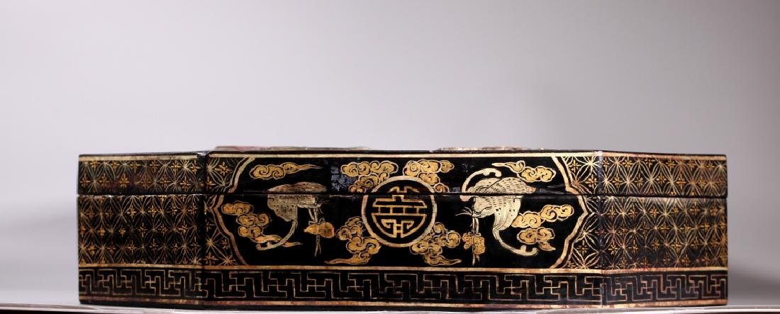 Lg Chinese Lacquer Box Dragon Inlaid with Carvings - 7