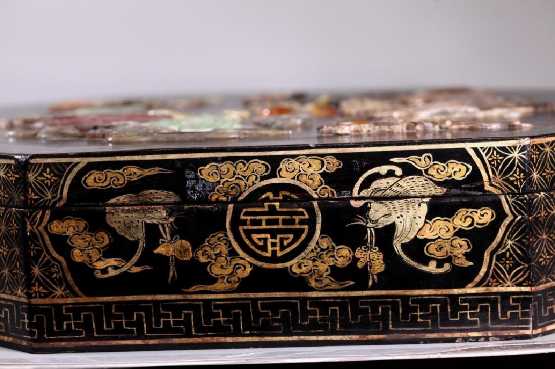 Lg Chinese Lacquer Box Dragon Inlaid with Carvings - 8