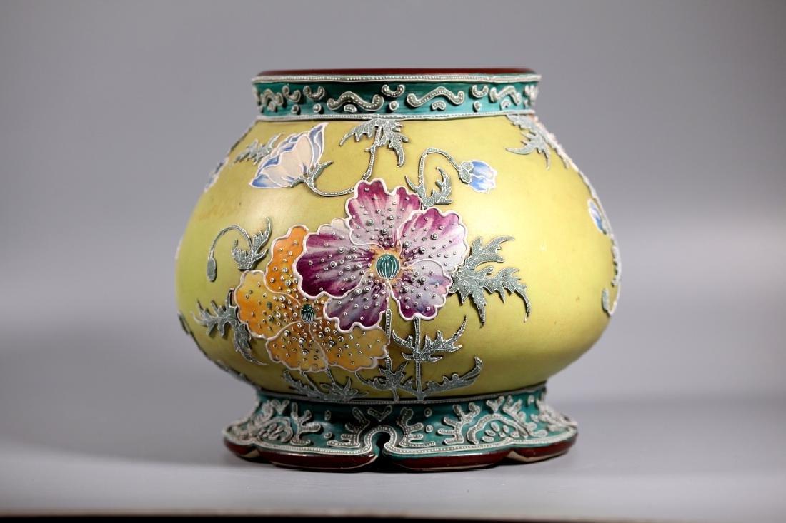 Rare Japanese Satsuma Morriage Art Nouveau Lamp Base