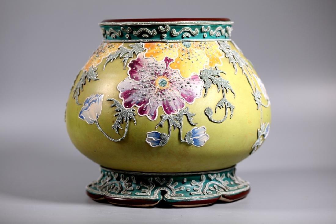 Rare Japanese Satsuma Morriage Art Nouveau Lamp Base - 2