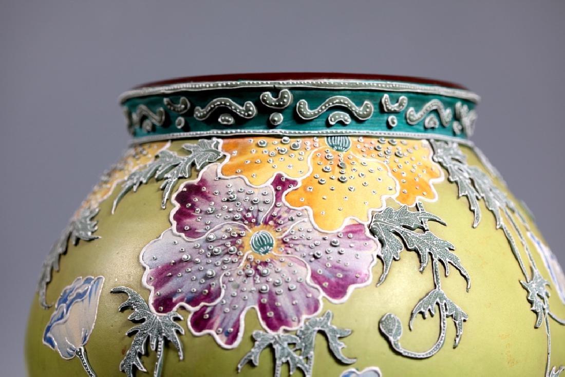 Rare Japanese Satsuma Morriage Art Nouveau Lamp Base - 5