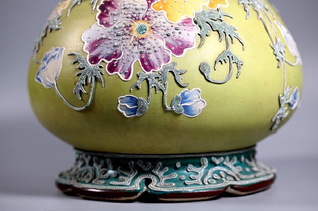 Rare Japanese Satsuma Morriage Art Nouveau Lamp Base - 6