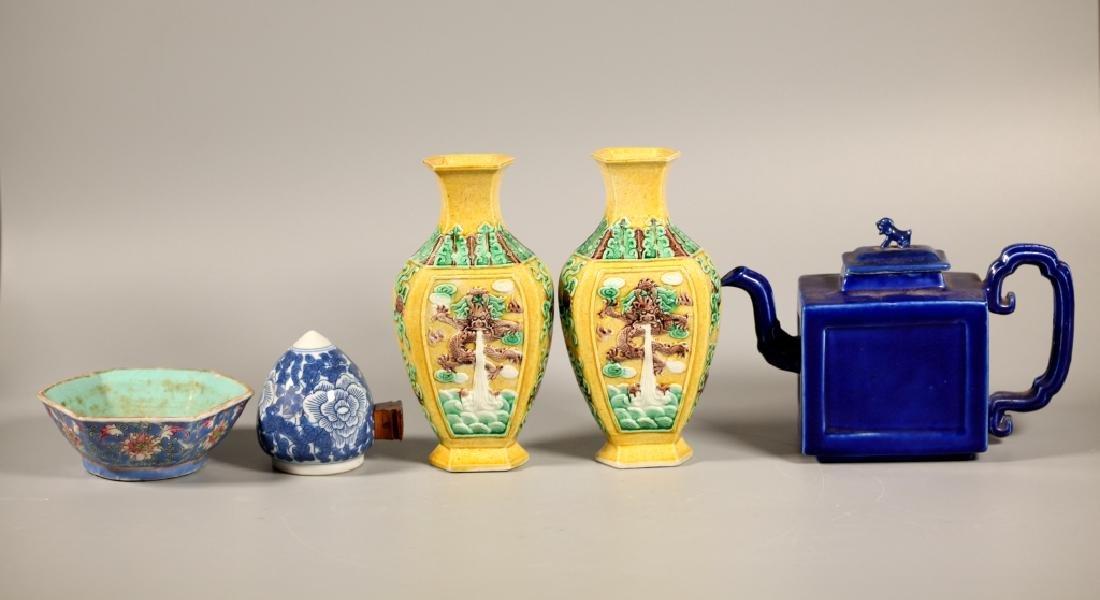 Chinese Blue Porcelain Teapot & 4 Porcelains