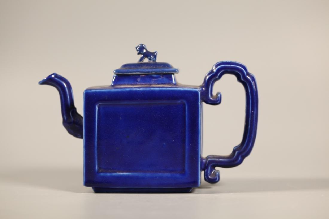 Chinese Blue Porcelain Teapot & 4 Porcelains - 5