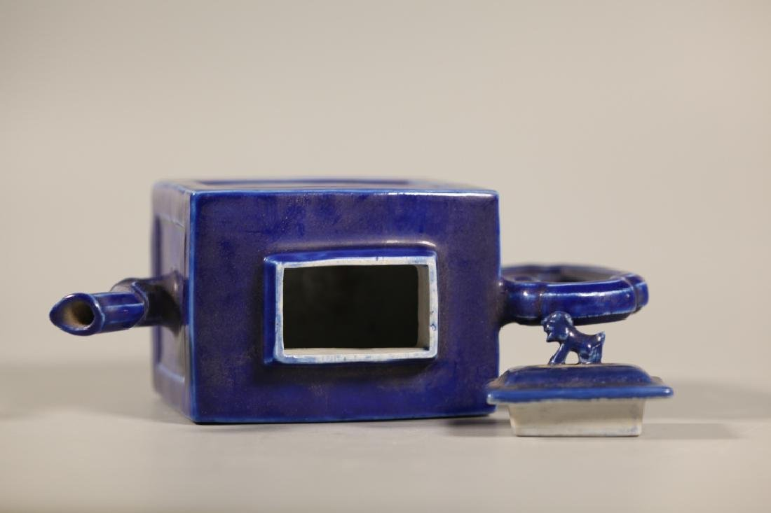 Chinese Blue Porcelain Teapot & 4 Porcelains - 6