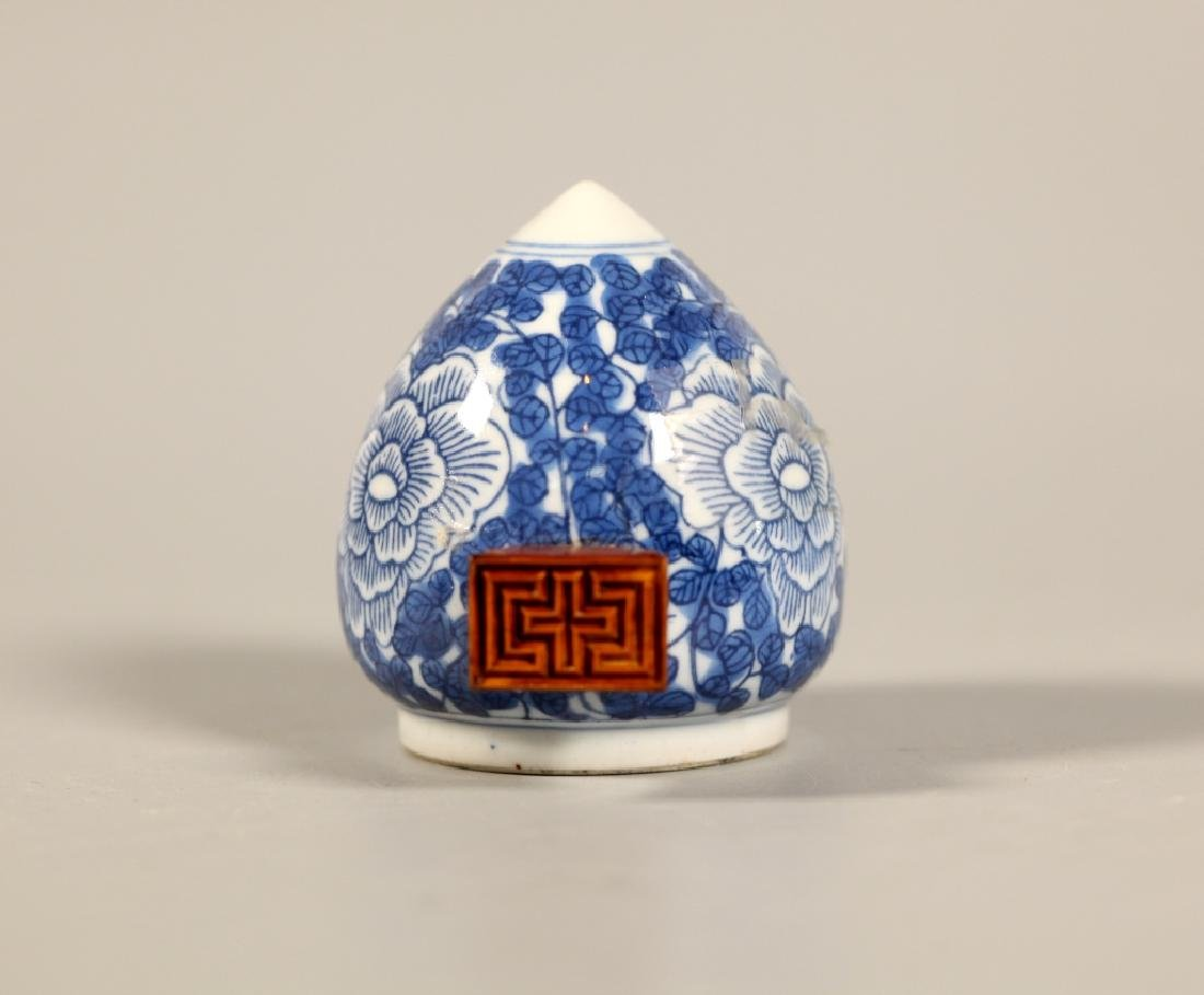 Chinese Blue Porcelain Teapot & 4 Porcelains - 9