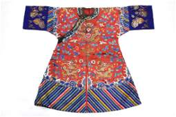 Rare Chinese Child's Qing 9 Dragon Silk Robe