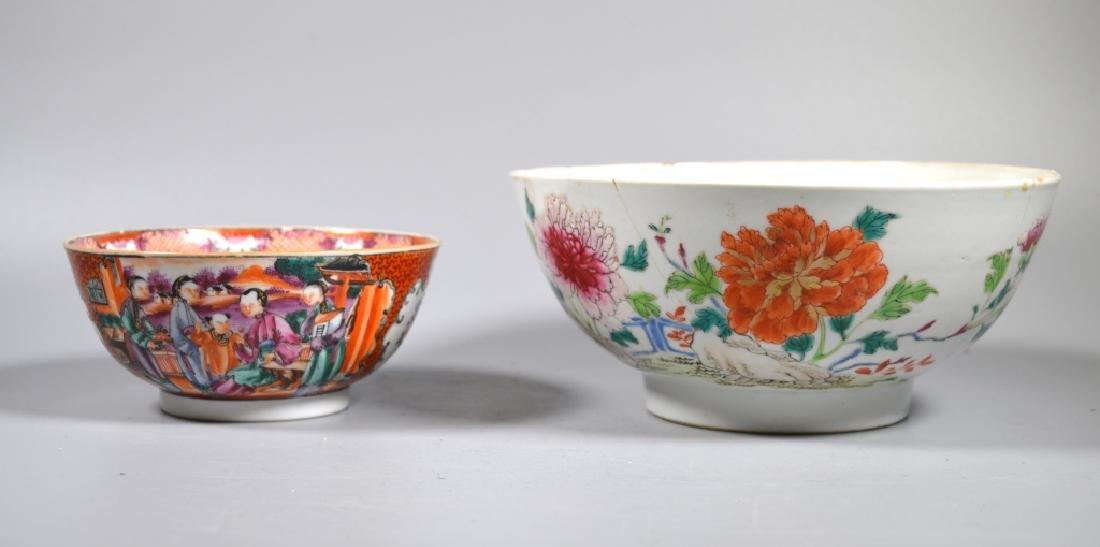2 Chinese 18 C Famille Rose Porcelain Bowls