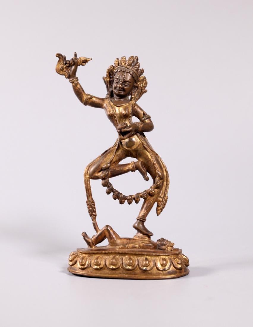 Tibetan Gilt Bronze Standing Female Figure