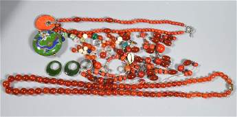 2 Chinese Necklace & Group Hardstone Jewelry Parts