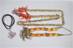 3 Necklaces; Quartz, Amber, Dragon Pendant