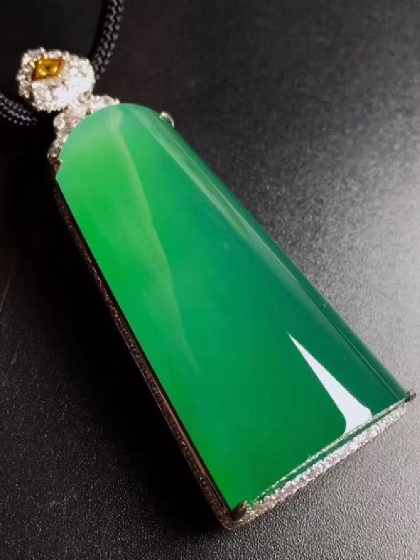 Extremely rare icy large Jadeite carved pendant