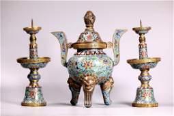 Fine Sm Chinese Cloisonne & Gilt Bronze Altar Set