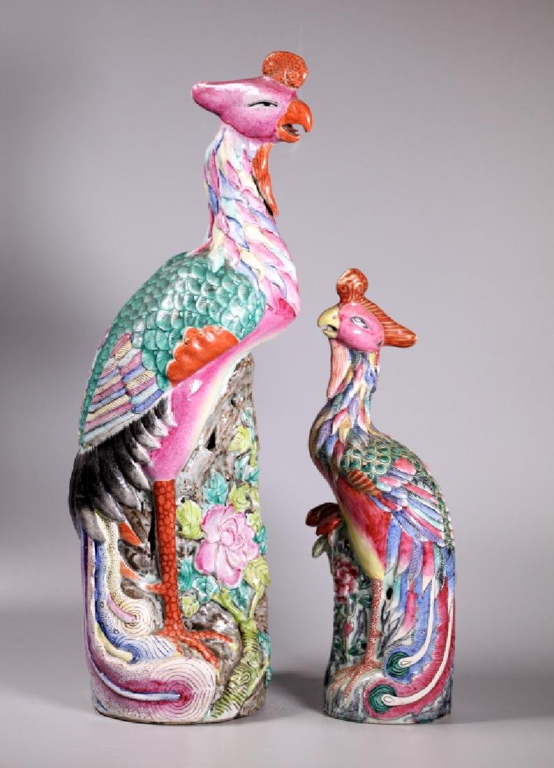 2 Chinese Qing Phoenix Bird Famille Rose Porcelain