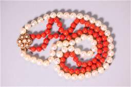 14K, Pearl & Dark Coral Double Strand Necklace
