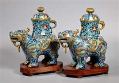 Pair Chinese 3 Part Cloisonne Qilin Censers