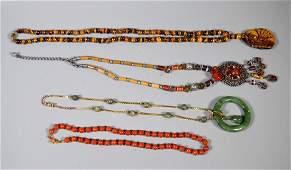 Four Good Hardstone Necklaces