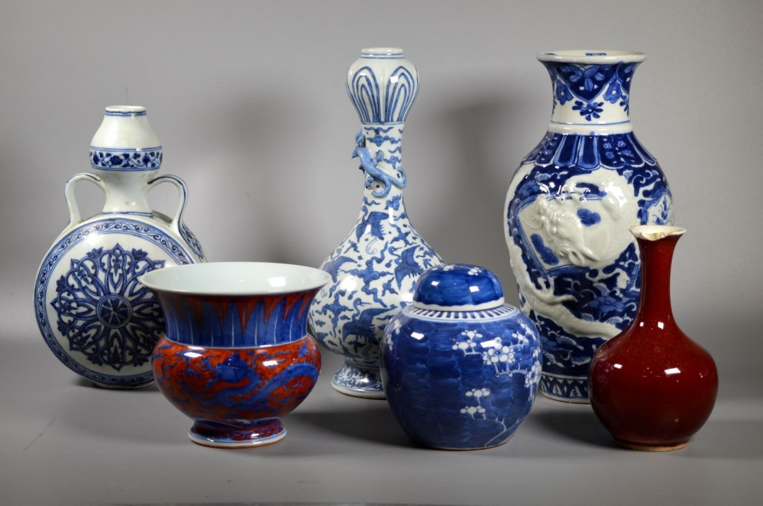Group of Six Chinese porcelain Blue & White, Red Glaze