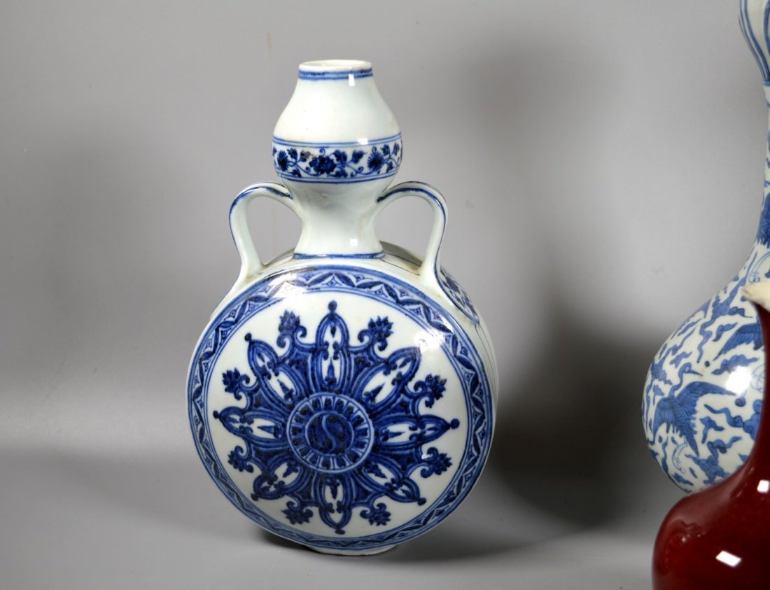 Group of Six Chinese porcelain Blue & White, Red Glaze - 6