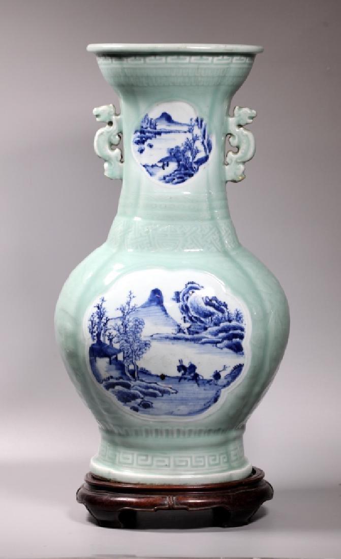 Lg Chinese Carved Celadon B & W Porcelain Vase