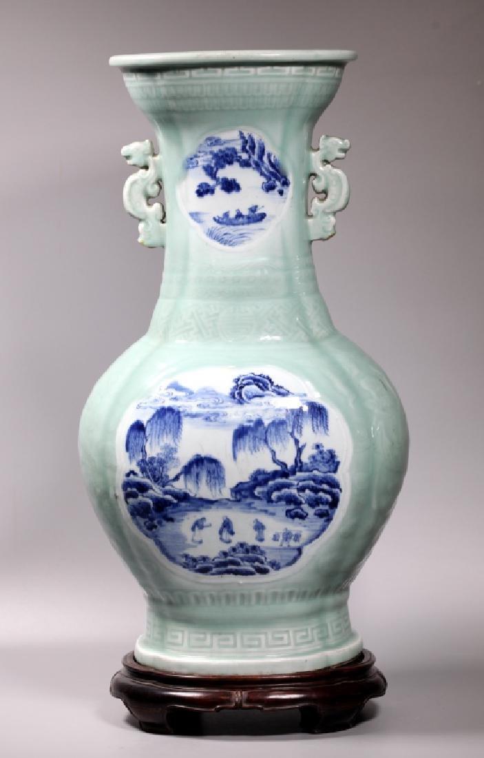 Lg Chinese Carved Celadon B & W Porcelain Vase - 2