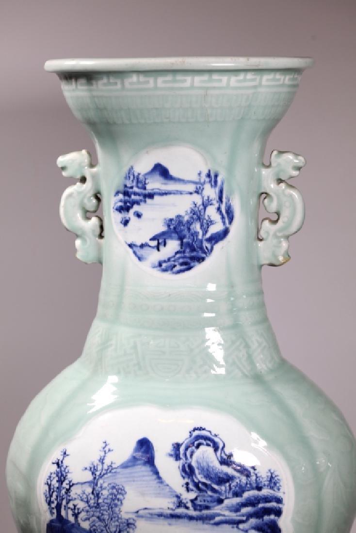 Lg Chinese Carved Celadon B & W Porcelain Vase - 5