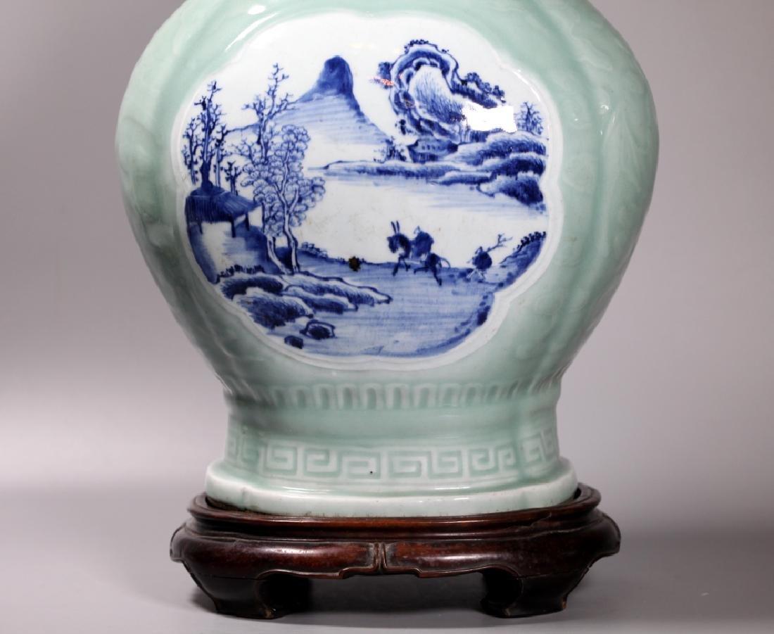 Lg Chinese Carved Celadon B & W Porcelain Vase - 6