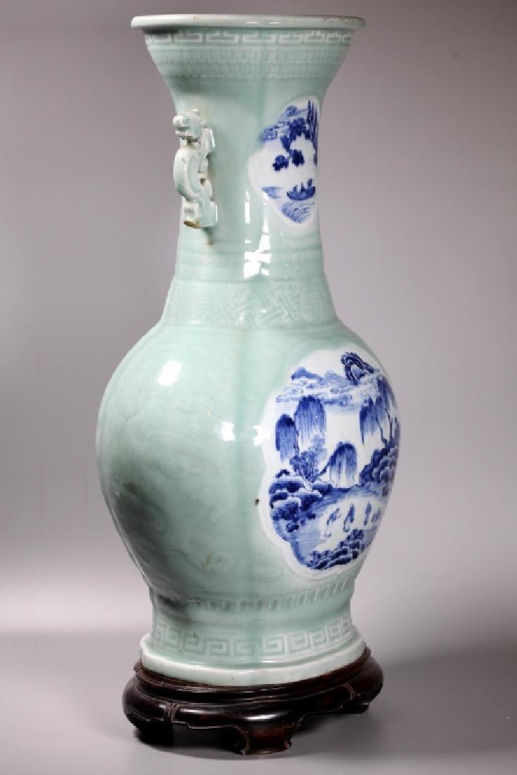 Lg Chinese Carved Celadon B & W Porcelain Vase - 7