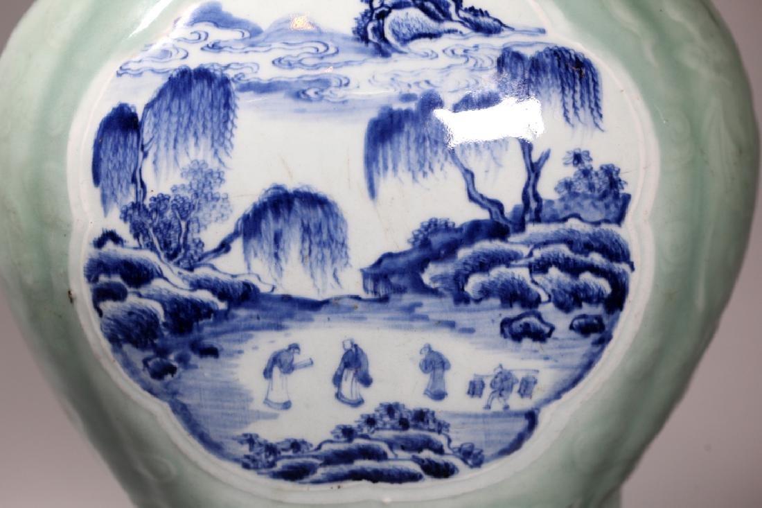 Lg Chinese Carved Celadon B & W Porcelain Vase - 8