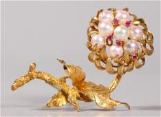 Vintage 14K White Pearl and Ruby Peony Flower Pin