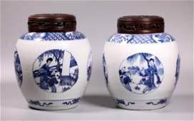 Pr Chinese Kangxi B  W Porcelain Ginger Jars