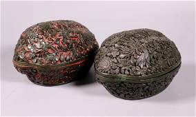 2 Chinese Qing Melon-Shaped Carved Lacquer Boxes