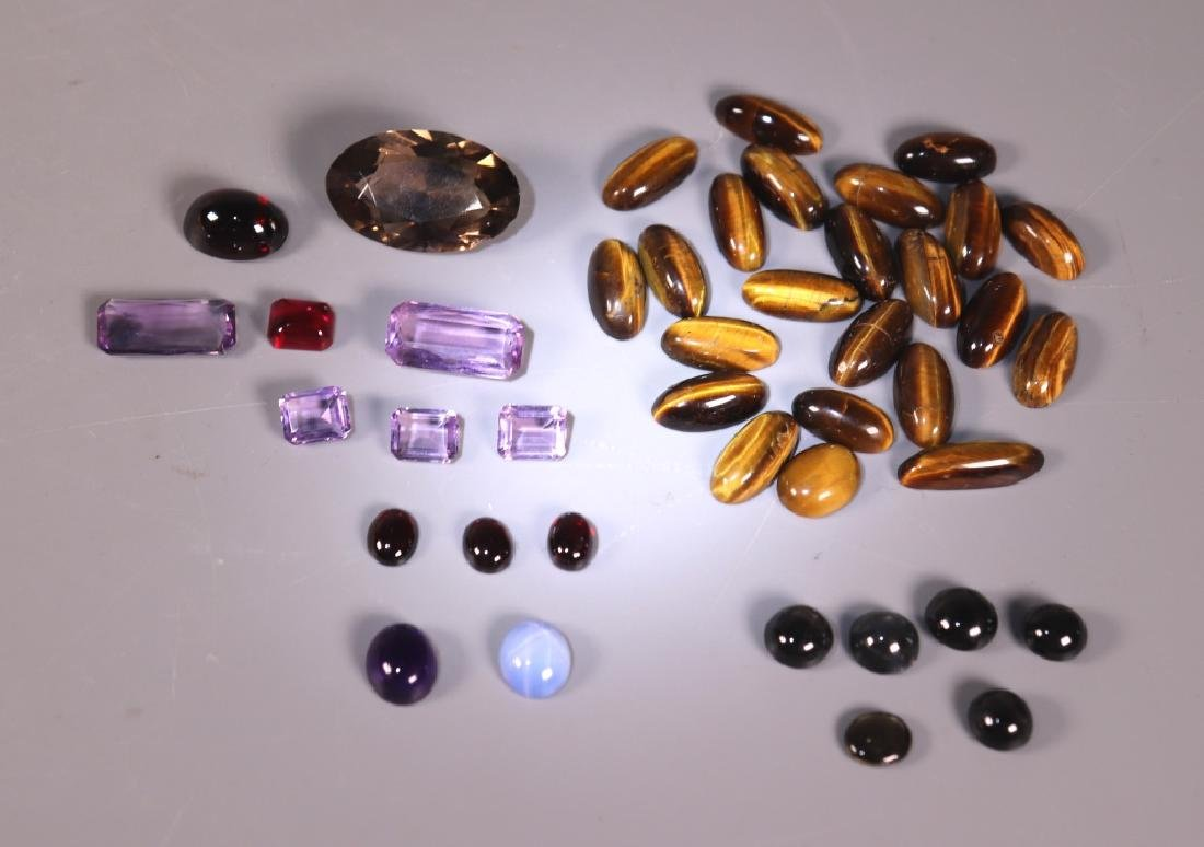 42 Gemstones; Star Sapphire Amethyst Tiger Eye Etc