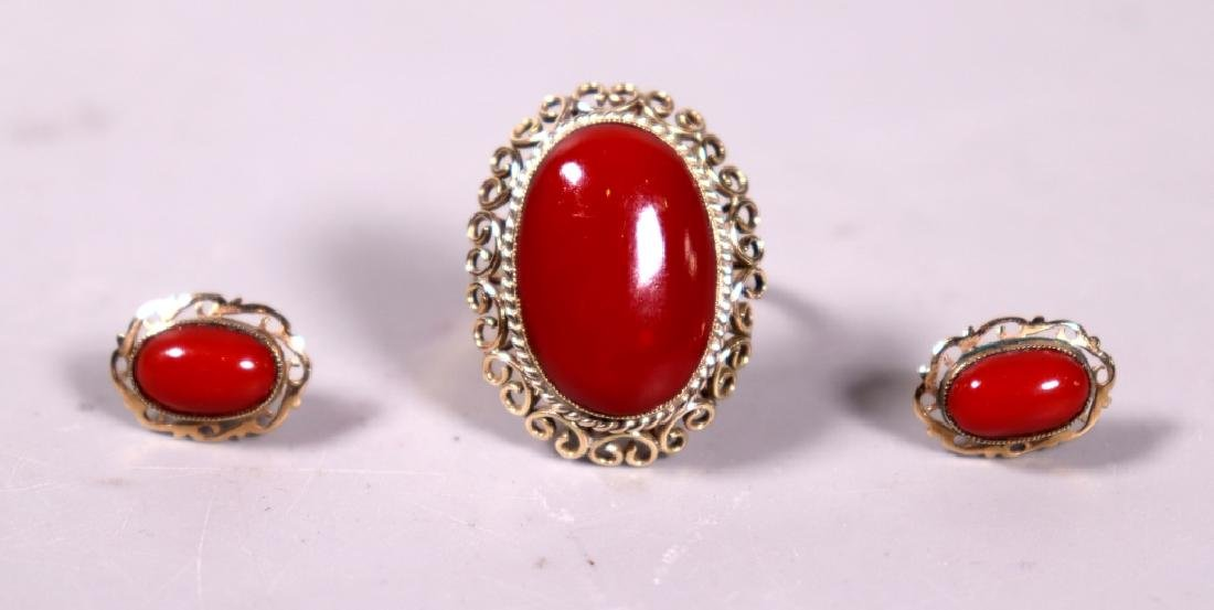 Good Ox-Blood Coral Cabochon Ring & Earring Set