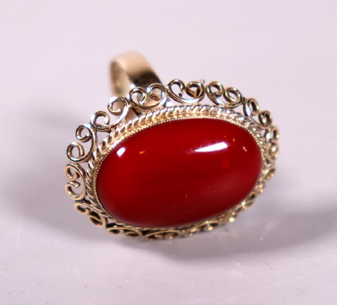 Good Ox-Blood Coral Cabochon Ring & Earring Set - 3