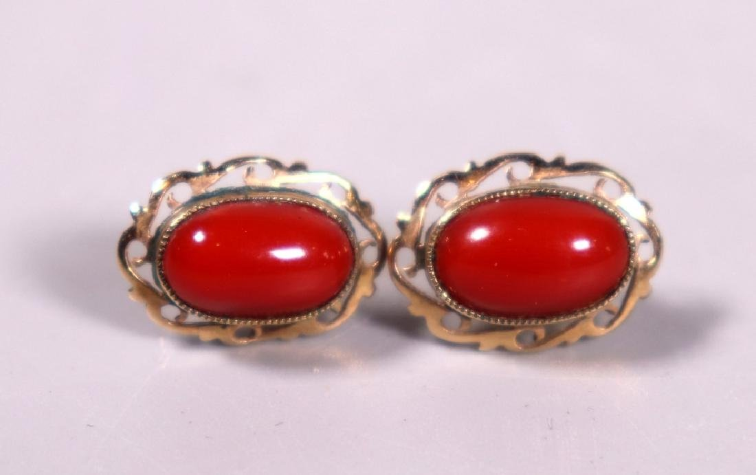 Good Ox-Blood Coral Cabochon Ring & Earring Set - 4