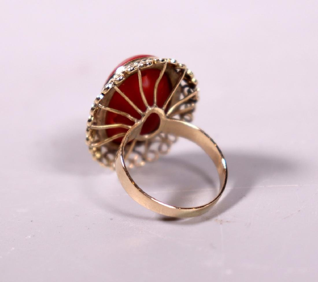 Good Ox-Blood Coral Cabochon Ring & Earring Set - 6