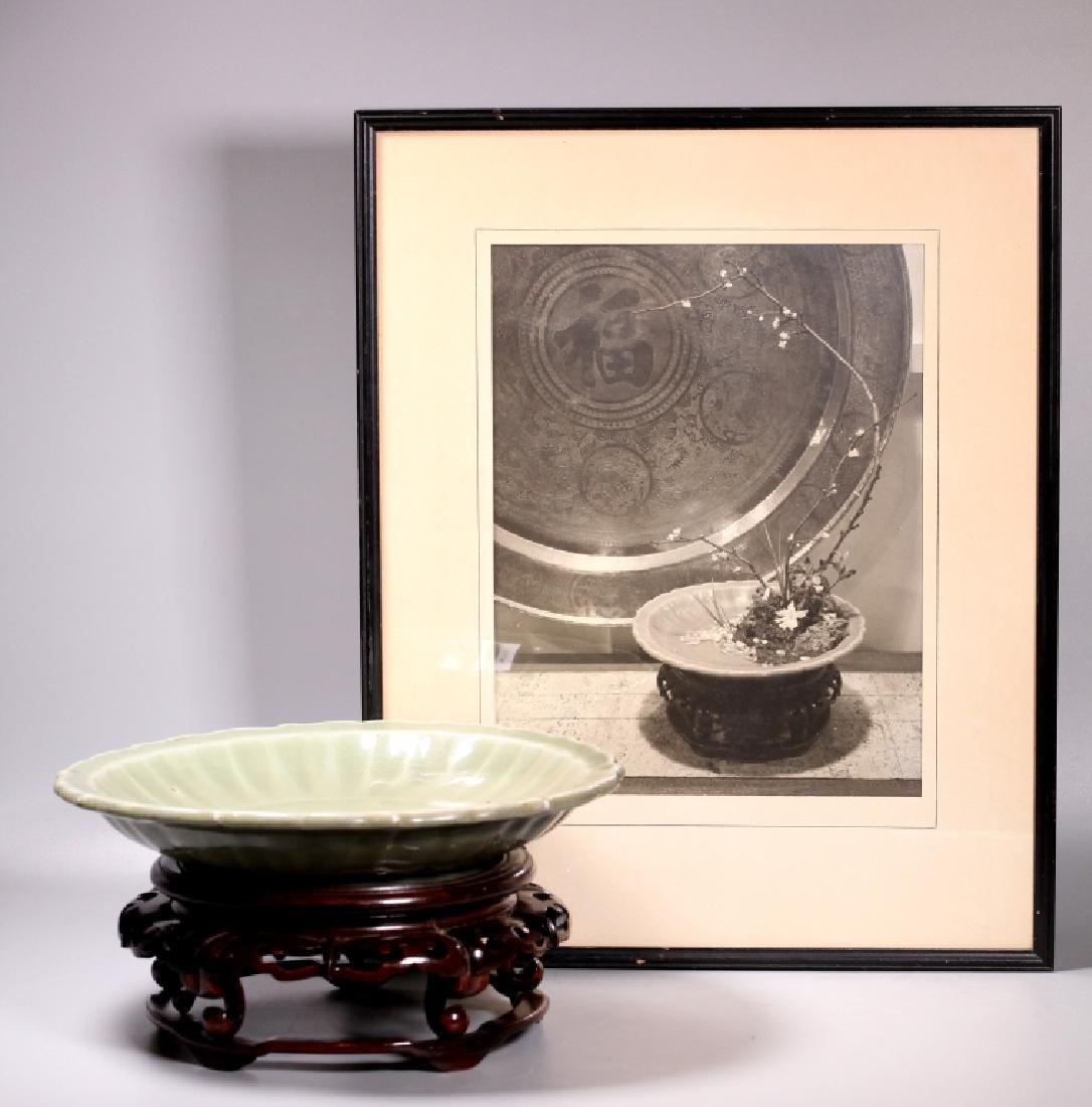 Lg Chinese Ming Longquan Celadon Porcelain Plate