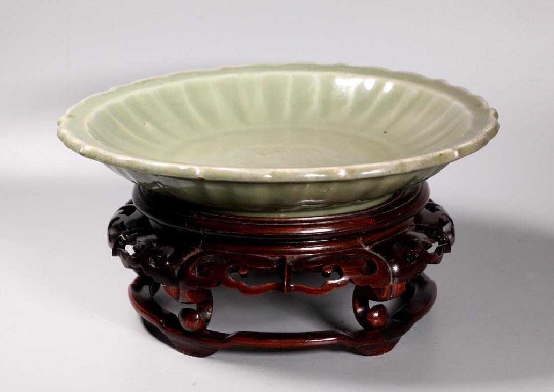 Lg Chinese Ming Longquan Celadon Porcelain Plate - 2