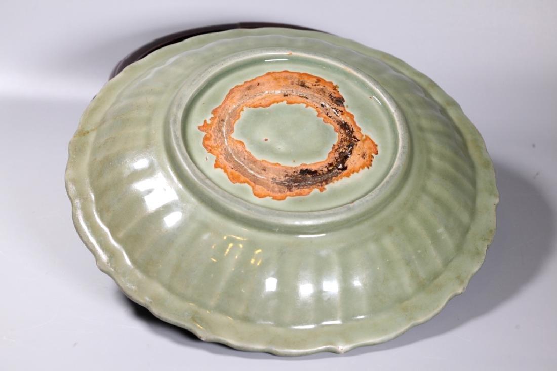 Lg Chinese Ming Longquan Celadon Porcelain Plate - 4