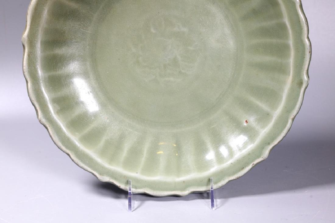 Lg Chinese Ming Longquan Celadon Porcelain Plate - 6