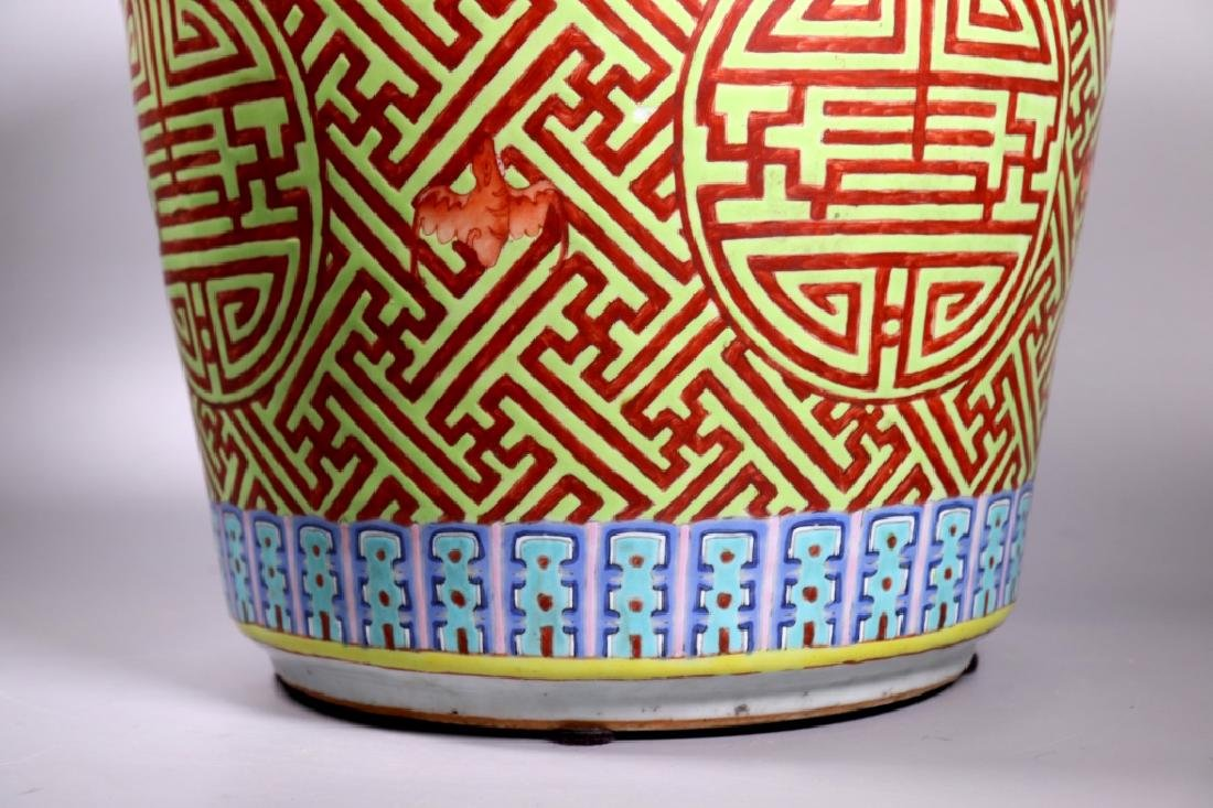 Large Chinese Shou Enameled Porcelain Planter - 4